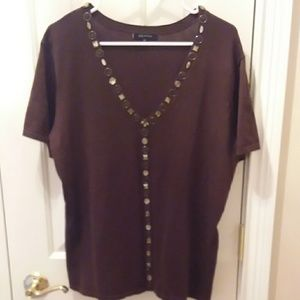 Anne Klein brown top sz 2X